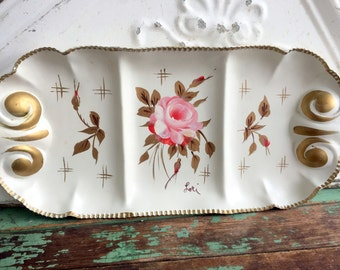 Vintage Hand Painted Artist Signed metal Tray Dish Shabby Pink Chic Roses
