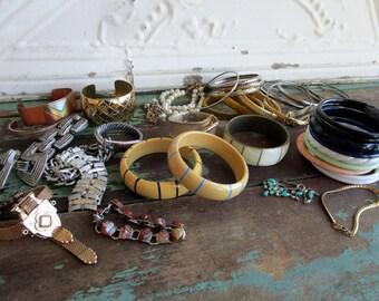 Lot of 43 Vintage Bangle Bracelets Metal Plastic Brass Copper Monet Trifari