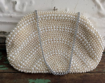 Vintage Pearl Beaded Clutch/chain purse Evening White Pearl Beads Japan Wedding