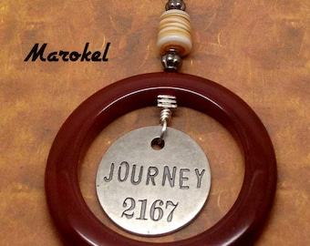 Journey Token Necklace Red Agate ring Silver Brick Red Tan Cord