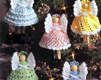 INSTANT DOWNLOAD PDF Vintage Crochet Pattern Clothespin Clothes Peg Angels  Christmas Tree Decorations Garland