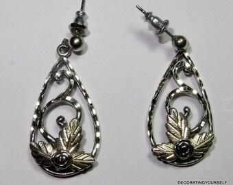 WM Company Black Hills Gold Sterling Dangle Earrings Pierced