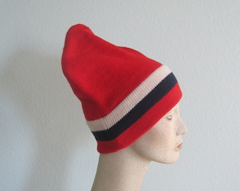 Vintage 70s Red, White, and Blue Wool Ski Hat - Vintage Vermont Originals Wool Hat - Vintage 1970s Winter Hat