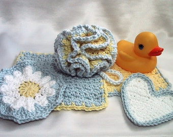Baby Bath 5 Piece Set - 1 Bath Puff, 2 Wash Cloths, 2 Scrubbies - Yellow & Blue - Nice Baby Shower Gift - Handmade Crocheted - Cotton Yarn