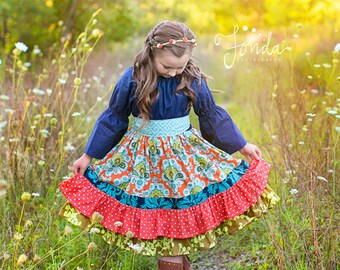 Girl's Fall Dress- Bohemian Sunset Peasant Dress-From the Fall 2016 Collection by Mellon Monkeys
