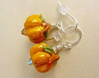 Pumpkin Earrings - Rustic - Handmade Lampwork Bead Jewelry - SRA