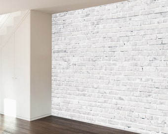 White Washed Brick Removable Wall Mural Decal -- 4 Panels