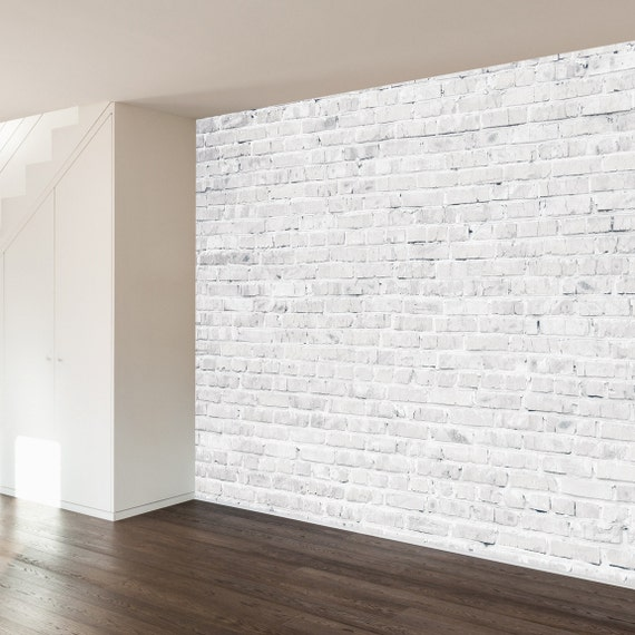 White washed brick removable wall mural decal 4 panels for Removable wallpaper wood paneling