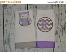 BLACK FRIDAY Cyber Monday Personalized Sleeping Owl and Chevron Circle Burp Cloth Set of 2
