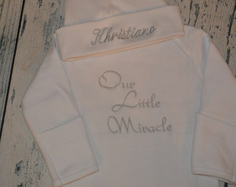 PERSONALIZED Our Little Miracle Coming Home Outfit  Infant Gown and Cap set Monogrammed