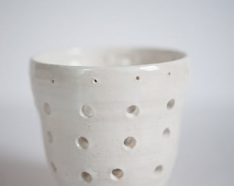 White ceramic candle holder, tea light holder, votive holder