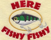 HERE FISHY embroidery on Men's Tee or Sweat by Rosemary