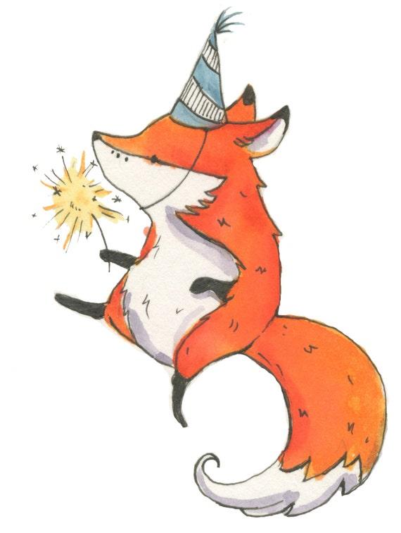 Little fox nursery : Unframed 4x6 print little fox party nursery art by genevrabell