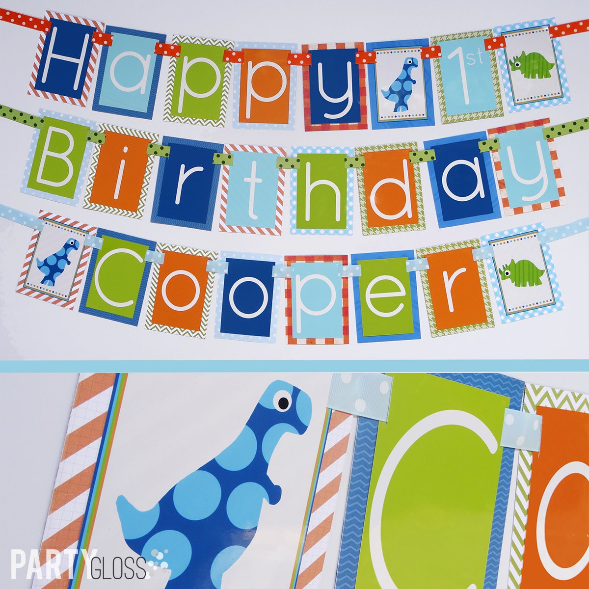 Boy Dinosaur Birthday Party Banner Decorations Fully Assembled