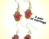 2 PAIRS Hamsa hand with red roses earrings charms  Silver and Gold tone manos aretes indu protection jewelry