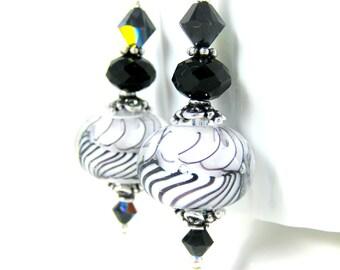 Black White Glass Dangle Earrings, Lampwork Earrings, Art Glass Jewelry, Striped Earrings, Boho Chic Earrings, Modern Earrings, Bohemian
