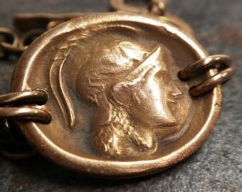 Mythology Jewelry Athena Bracelet Bronze Coin