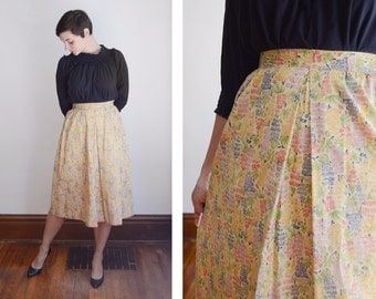 1970s Floral Printed Skirt - S