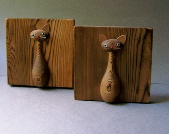 Mid Century Modern Wooden Cat Bookends