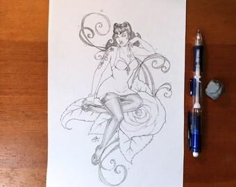 Retro Pin-up - 6.5x9.5in Original Pencil Drawing, Artwork, Graphite, Woman, Sketchbook, Quick Sketch, Rose, Tattoo Girl, Pin-up Girl