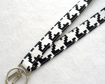 Black White Houndstooth Fabric Lanyard Breakaway Lanyard Designer ID Badge Holder Clip Key Ring Fob MTO