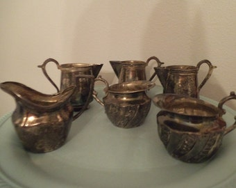 6 small Silverplate Creamers ~ Shabby Chic Cottage ~ Wedding ~ Tea Party ~ Creamer Vase