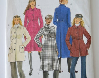 Misses Coat in various lengths - Butterick B5145 Pattern - UNCUT - Sizes BB - 8, 10, 12, 14