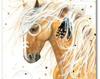 Majestic Horses Palomino Spirit Paint Native Feathers - ArT Prints by Bihrle mm84