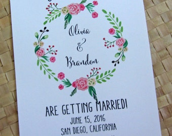 Save the Date Card, Floral Save the Date Card, Wedding Save the Date, Wreath Save the Date