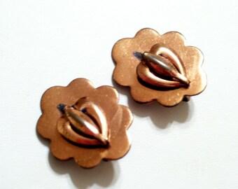 Vintage Copper Clip Earrings, Rame' Copper Earrings, Scalloped Copper Earrings, Vintage Copper Jewelry
