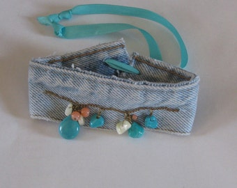 Upcycled Recycled Denim Cuff Bracelet