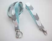 gray chevron Lanyard and Key fob Keychain Set - aqua, coral, mint green teacher gift, coworker gift, gift for her, under 20