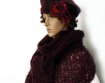 SALE, Hat and scarf, Scarf hat set, Mohair shawl beret set, Beret shawl SET, Wool cape, Triangle shawl, Scarf and beret, Mohair shawl
