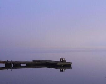 "Landscape photography spring purple misty lake wharf summer dreamy calm - ""Morning fog"" 8 x 10"