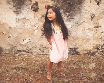 Boho Girl's Dress - Strappy Dress in Peach and Mixed Pastel Prints - Pocket Dress with Fringe - by bitty bambu