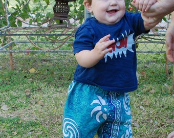 Hippie Kids pants -Size 1- Turquoise Spiral -Boys or Girls- Read measurements