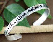 Personalized Name Cuff Bracelet, Name Bracelets, Custom Bracelet, Kids Name Cuff Bracelet, Mother Bracelet, Grandma Jewelry, Gift for Mom