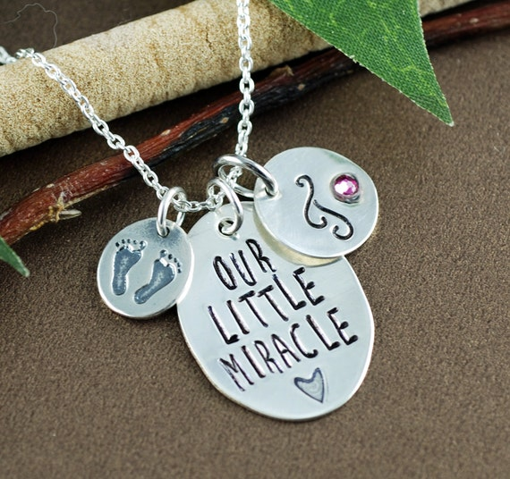 New Mom Necklace, Baby Feet Necklace, Hand Stamped Initial Necklace, Mothers Necklace, New Baby, Push Present, Gift for Mom