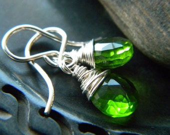 Emerald green quartz sterling silver earrings - wire wrapped handmade semiprecious gemstone jewelry