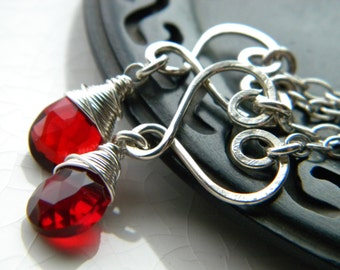 My Love - Sterling silver heart and red garnet quartz dangle earrings - handmade wire wrapped jewelry
