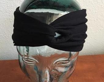 Black Jersey Half Turban Yogi Headband