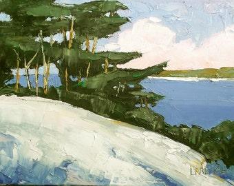 ORIGINAL Impressionist Painting CALIFORNIA Plein Air Landscape Monterey Bay Carmel Cypress 11x14 Lynne French