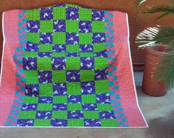Twin Bed Quilt, Lap Quilt Tinkerbell, Tinkerbell Blanket, Little Girl Quilt, Purple Green Quilt, Toddler Quilt, Quiltsy Handmade Quilt