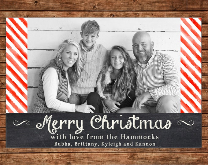 Photo Picture Christmas Holiday Card Chalkboard Chalk Red Watercolor Paint Stripe - Digital File