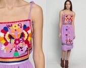 Embroidered Mexican Dress PEACOCK Dress Bird Midi 1970s Hippie Ethnic Boho Purple Cotton 70s Sun Dress Vintage Sundress Smocked Large