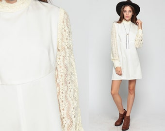 60s Mini Dress Cream LACE Party Crochet 1960s Babydoll Mod Dolly Sheer Sleeve 70s Bohemian Vintage Boho MiniDress High Neck Extra Large xl