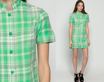 Plaid Mini Dress 70s Mod Mini 60s Shift Button Up Checkered Print Green Mandarin Collar School Girl Short Sleeve Vintage Lolita Preppy Small