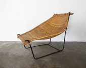 Iron and Rattan SLING LOUNGE CHAIR by Danny Ho Fong