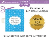 DIY printable lip balm labels editable winter blue snowflakes baby shower favors or bridal or wedding PDF Digital File (No.15)