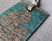 Michigan State original vintage map luggage tag